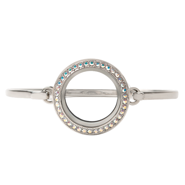Medium Silver Twist Living Locket with Crystal AB Swarovski Crystals 7 3 4 Bangle SKU LK9116