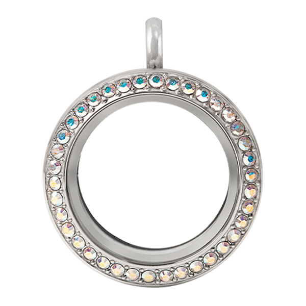 Medium Silver Twist Living Locket Base Face with Crystal AB Swarovski Crystals SKU LK9120