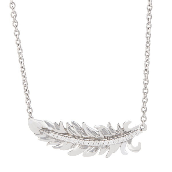 Silver LET IT GO Feather Necklace 15.5 18.5 SKU NL1009