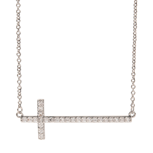 Silver I Have Faith CZ Cross Necklace 15.5 18.5 SKU NL1010