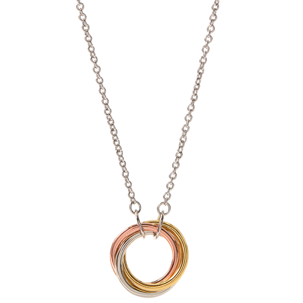 Tri tone Connection Knot Necklace 15.5 18.5 SKU NL1011