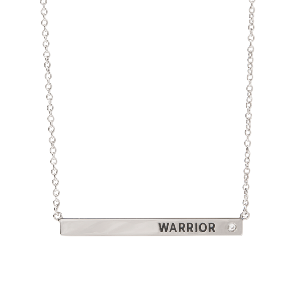 Silver WARRIOR Bar Necklace with CZ 16 19 Breast Cancer Awareness SKU NL1016