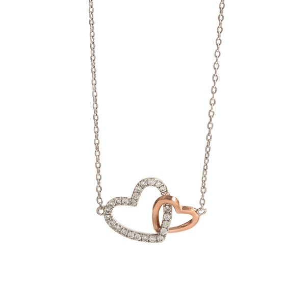 Silver Better Together CZ Mixed Metal Interlocked Hearts Necklace 15.5 18.5 SKU NL1017
