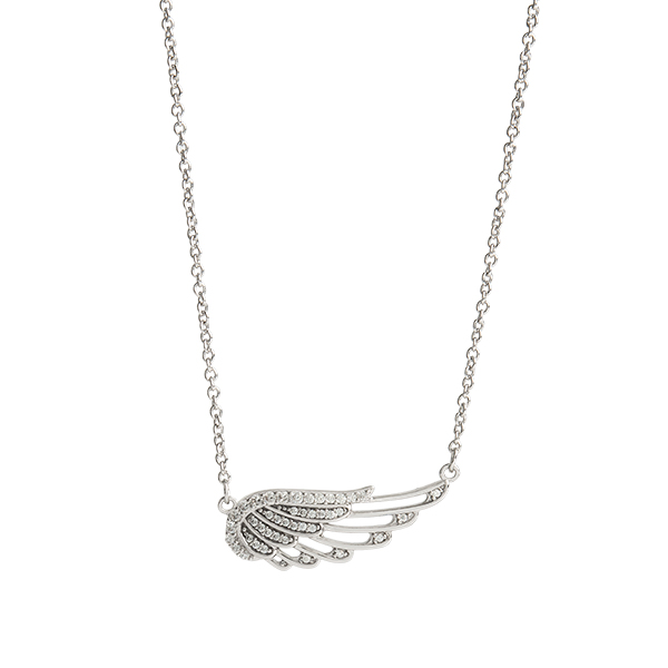 Silver I Am Protected CZ Wing Necklace 15.5 18.5 SKU NL1018