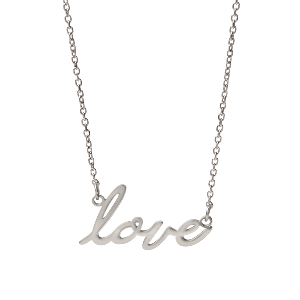 Silver Love Script Necklace 15.5 18.5 SKU NL1019