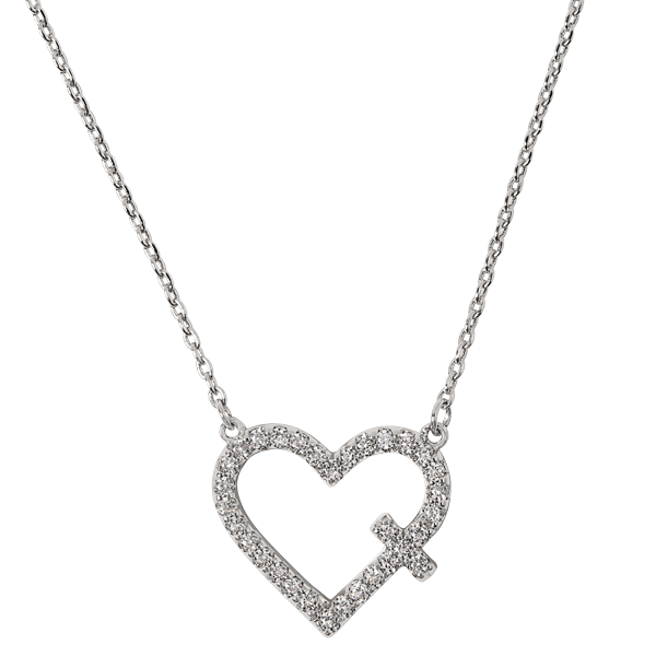 Silver Be Still CZ Cross Heart Necklace 15.5 18.5 SKU NL1021