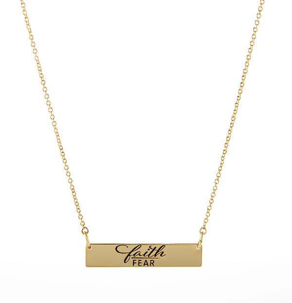 NL2001 Gold Faith Fear Bar Necklace copy