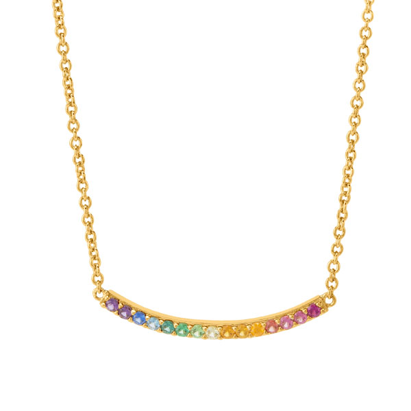 Gold Find Joy CZ Rainbow Curved Bar Necklace 15.5 18.5 SKU NL2003