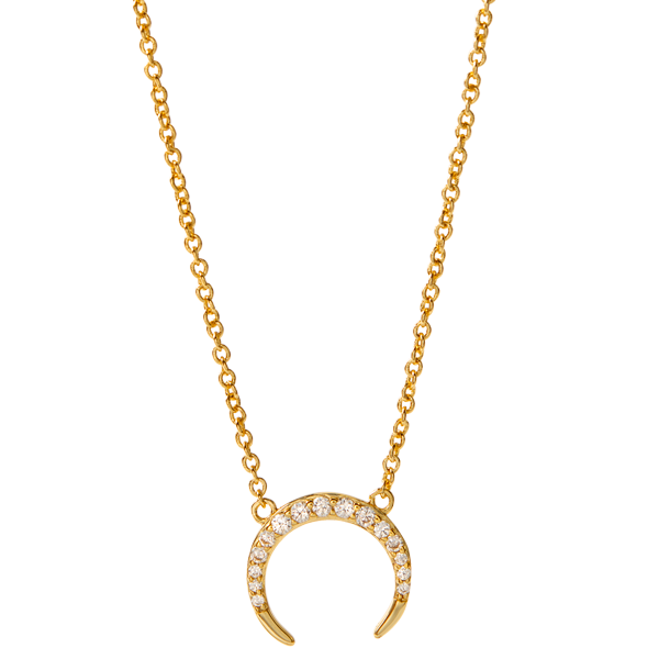Gold I Can I Will CZ Crescent Necklace 15.5 18.5 SKU NL2004