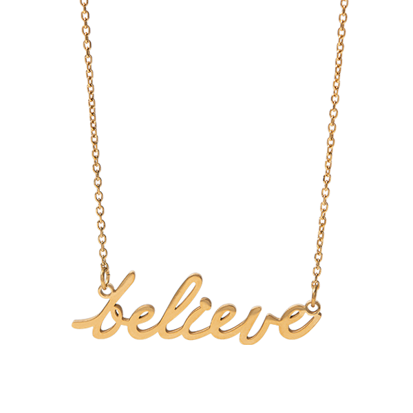 Gold Believe Script Necklace 15.5 18.5 SKU NL2005