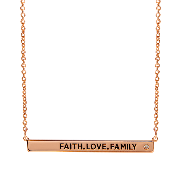 Rose Gold FAITH.LOVE.FAMILY Dainty Bar Necklace with CZ 16 19 SKU NL3007