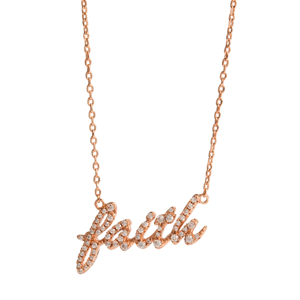 Rose Gold Faith Over Fear CZ Script Necklace 15.5 18.5 SKU NL3008