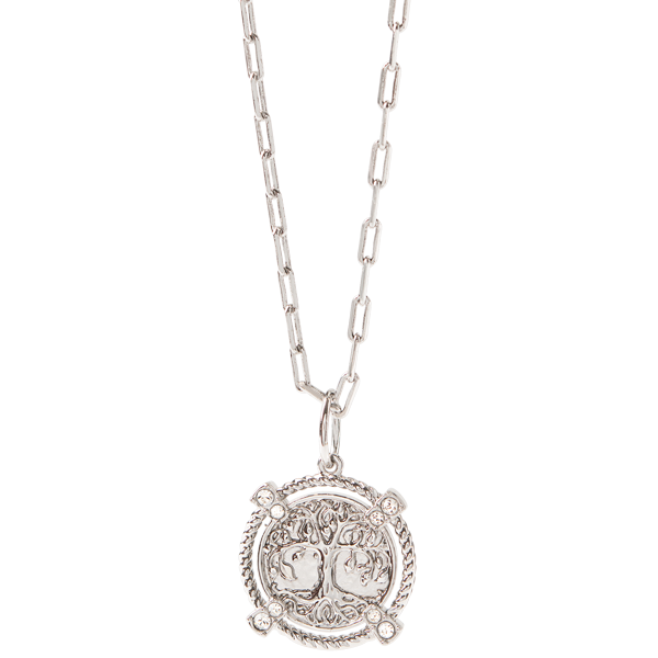 Silver Life is a Gift Tree Coin Pendant with Swarovski Crystals Dainty Rectangle Chain 18 20 SKU NL9001