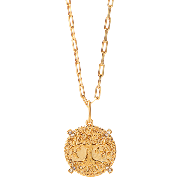 Gold Life is a Gift Tree Coin Pendant with Swarovski Crystals Dainty Rectangle Chain 18 20 SKU NL9002