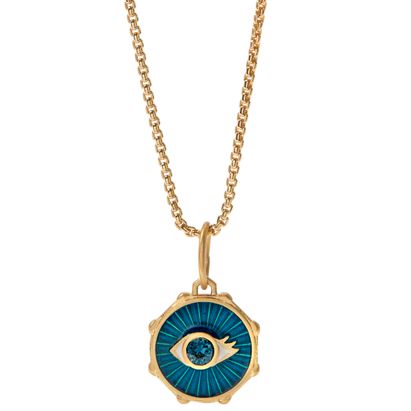 Gold Protected Evil Eye Coin Pendant with Swarovski Crystals Dainty Box Chain 16 19 SKU NL9003