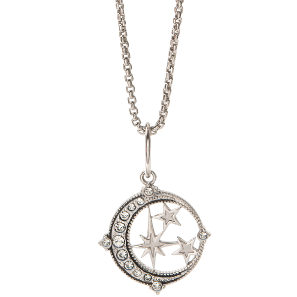 Silver Renewal Stars and Moon Coin Pendant with Swarovski Crystals Dainty Box Chain 16 19 SKU NL9004