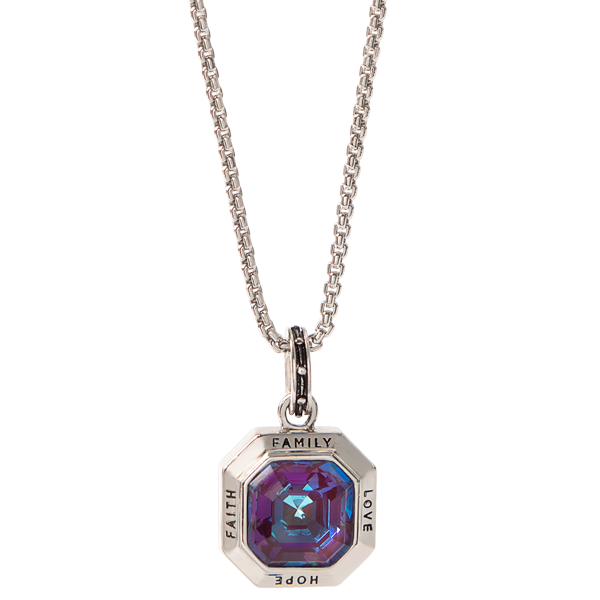 Imperial Crystal Faith Family Hope Love Pendant Dainty Box Chain 16 19 SKU NL9005