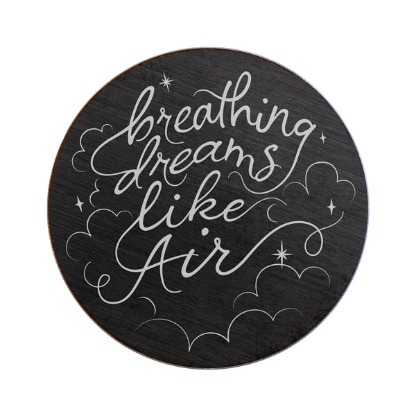 Large Black Breathing Dreams like Air Plate SKU PB9331