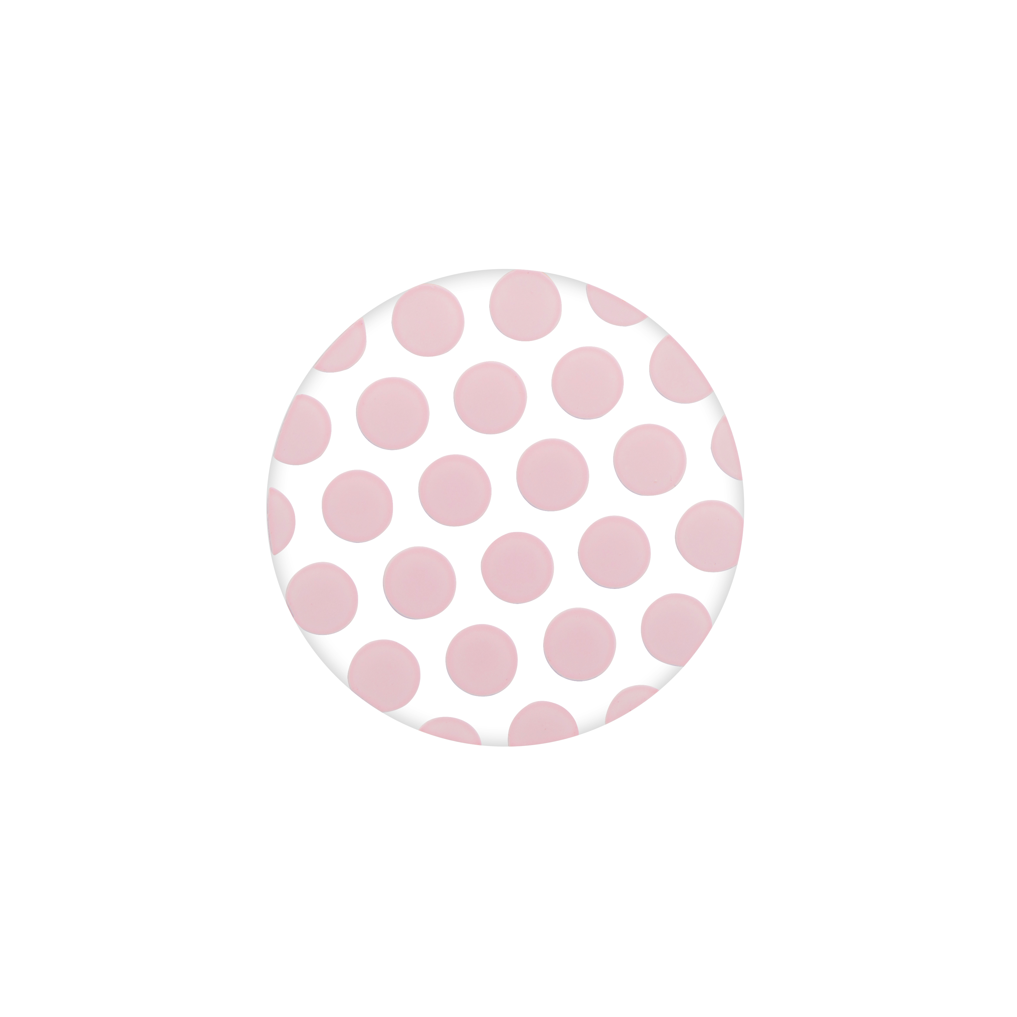 PC1003 Medium Clear Pink Polka Dot Plate2