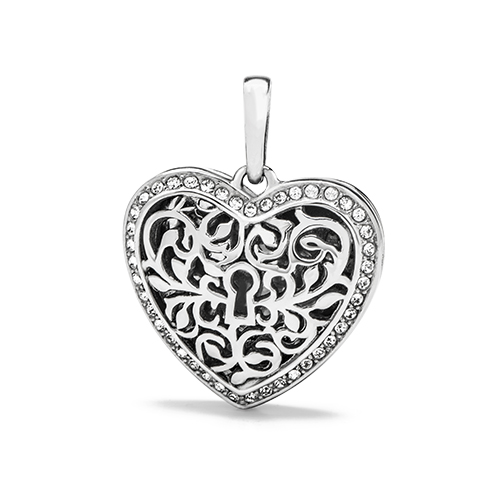 PN1003 Silver Sentiments Filigree Heart Pendant with Swarovski Crystals Front