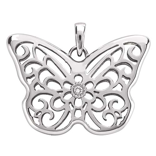 LK1032 Silver Sentiments Butterfly Locket With Swarovski Crystal V1