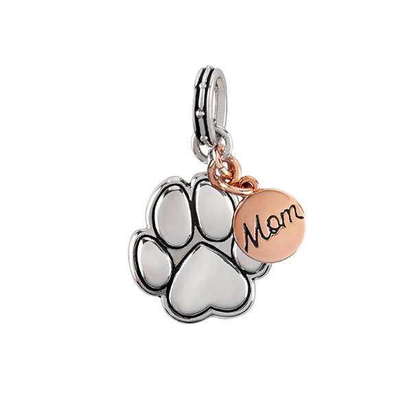 Silver Rose Gold Fur Mom Charm Pendant SKU PN2015