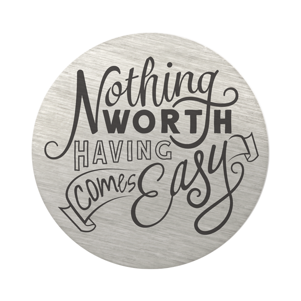Large Silver Nothing Worth Having Comes Easy Plate SKU PS9346