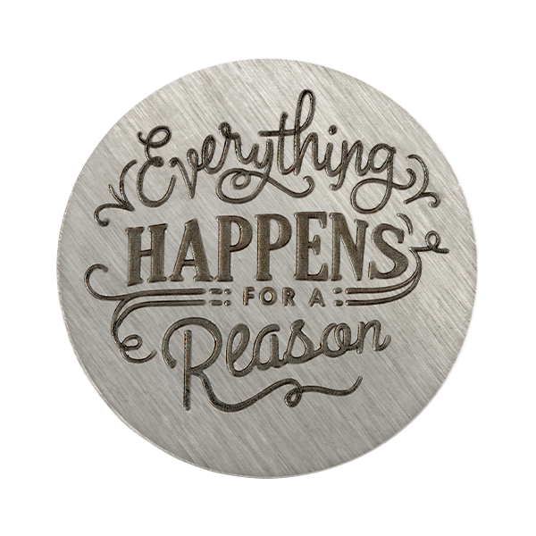 Large Silver Everything Happens for a Reason Plate SKU PS9349