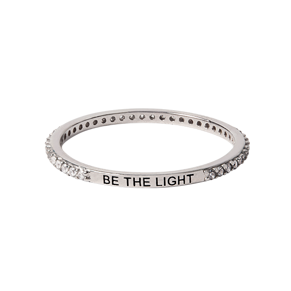 Silver Be The Light Pav CZ Stacking Band Ring 8 SKU RN1018