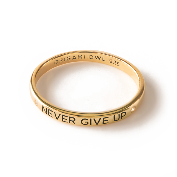 Gold Never Give Up CZ Stacking Band Ring 10 SKU RN2010
