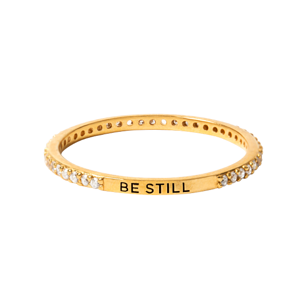 Gold Be Still Pav CZ Stacking Band Ring 10 SKU RN2011