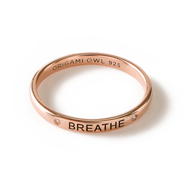 Rose Gold Breathe CZ Stacking Band Ring 10 SKU RN3010