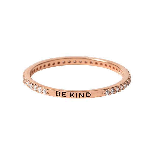 Rose Gold Be Kind Pav CZ Stacking Band Ring 10 SKU RN3021