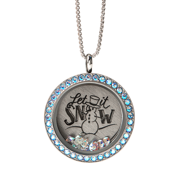 Large Silver Let it Snow Living Locket Set Childhood Cancer Awareness SKU SP2269