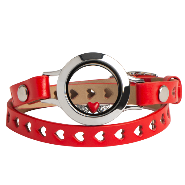 Red Cut Out Heart Double Genuine Leather Wrap Bracelet 6 7 1 4 Living Locket Set SKU SP2329