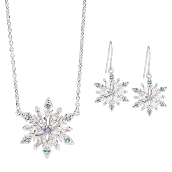 Silver CZ Snowflake Necklace and Earring Set