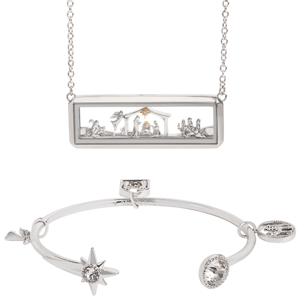 Nativity Living Locket and Bangle Bracelet Set