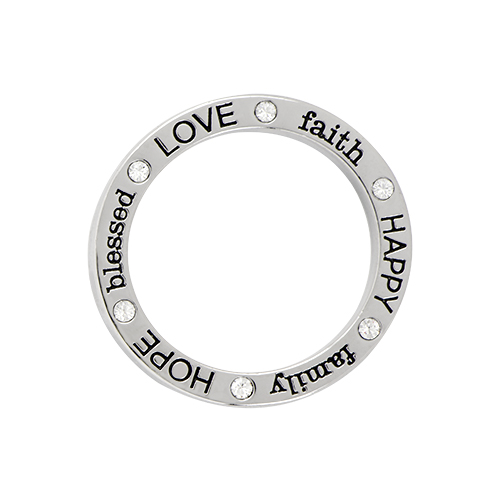 WF1005 Large Silver  Family Faith Love  Window Frame with Swarovksi Crystals