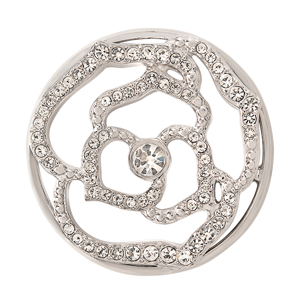 Large Silver Pav Rose Window Plate with Crystals SKU WN1044